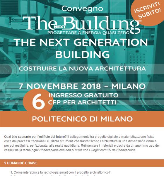 Convegno The Next Building con 6 CFP: come costruire la nuova architettura