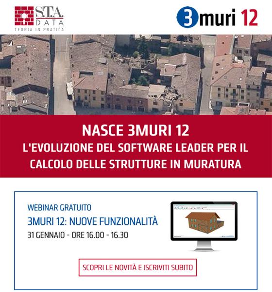 Nasce 3Muri 12, l'evoluzione del software leader per le strutture in muratura
