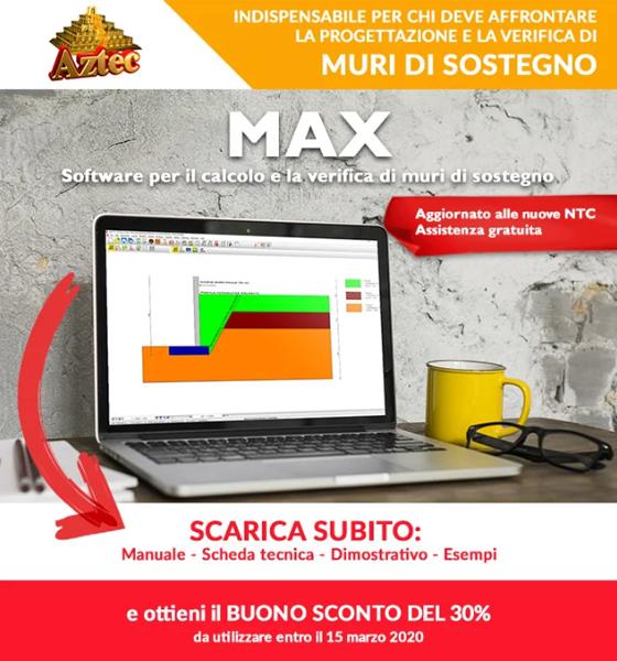 MAX in promozione: il software n° 1 per i muri di sostegno