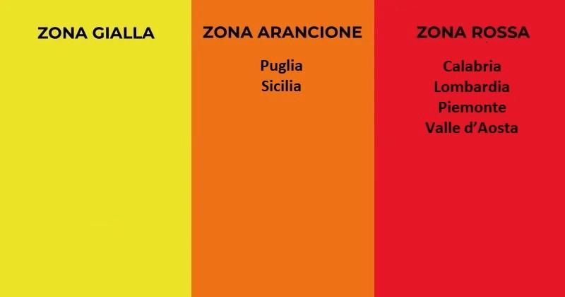 Coronavirus Covid-19: Prorogate zone rossa e arancione per Calabria, Lombardia, Piemonte, Valle d'Aosta, Puglia e Sicilia