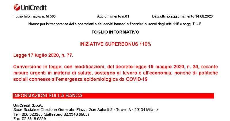 Superbonus 110%: da Unicredit il prezzo di acquisto dei crediti fiscali