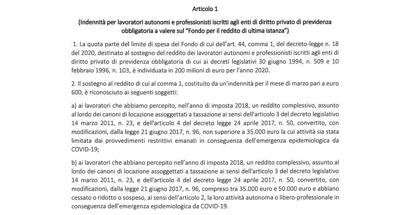 Bonus 600 euro lavoratori autonomi e professionisti Casse private: pubblicato il Decreto Interministeriale