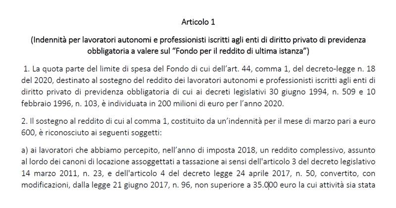 Ultime notizie Covid-19: ecco il decreto per l'indennità ai professionisti iscritti alle Casse di previdenza private