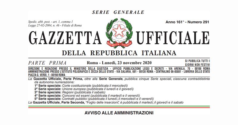 Emergenza Coronavirus Covid-19: in Gazzetta Ufficiale il decreto Ristori-ter