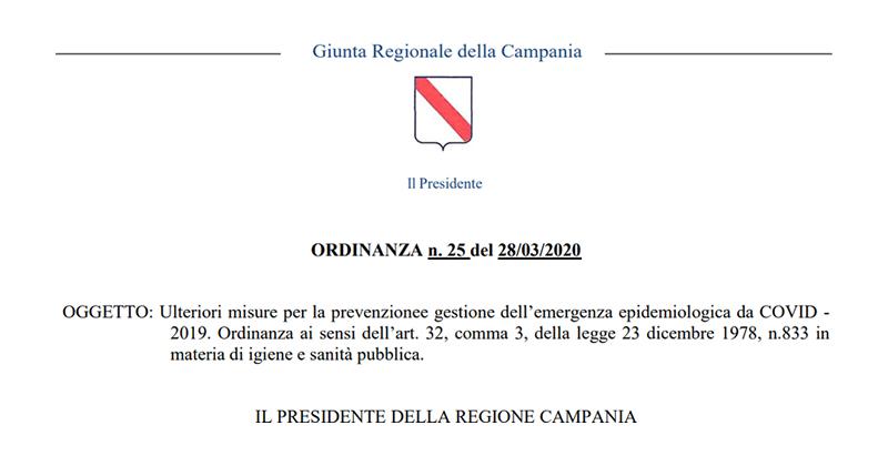 Ultime notizie Covid-19, Regione Campania: confermate misure restrittive fino al 14 aprile 2020