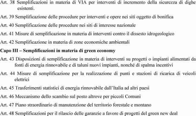 Decreto Semplificazioni - Articoli da 38 a 48