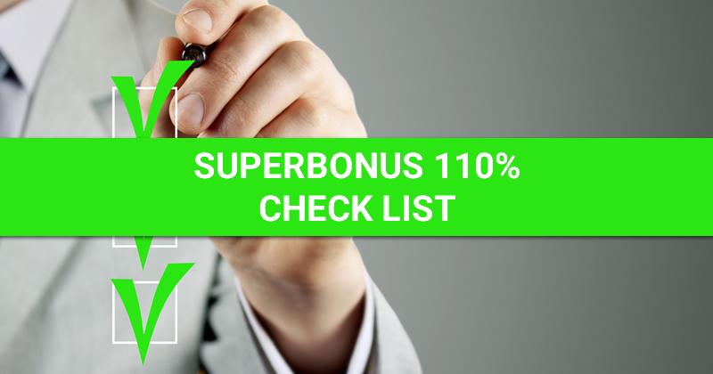 Superbonus 110%: le check list per il visto di conformità Ecobonus e Sismabonus necessario per sconto in fattura e cessione del credito