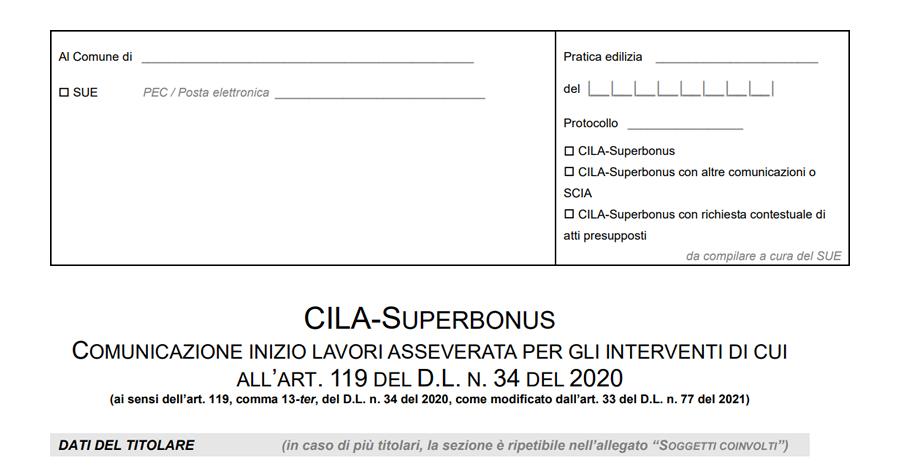 La nuova CILA-Superbonus: modello, istruzioni tecniche, linee guida e note