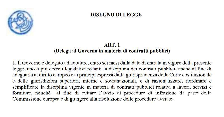 Riforma Codice dei contratti: ecco il testo definitivo del ddl delega