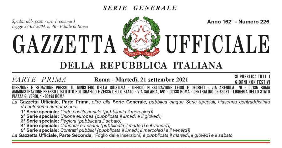 Gazzetta ufficiale: decreto-legge con estensione applicazione certificazione verde