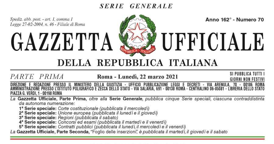 Gazzetta Ufficiale: il testo pubblicato del decreto-legge n. 41/2021 Sostegni