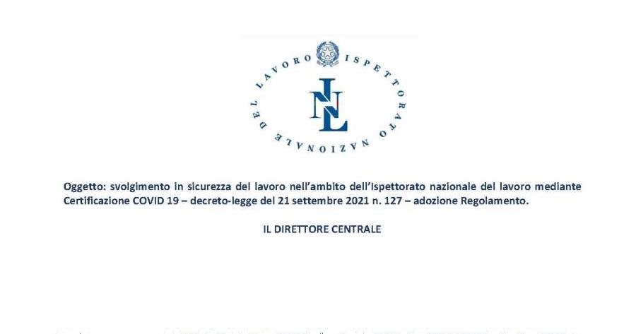 INL: Regolamento certificazione Covid-19