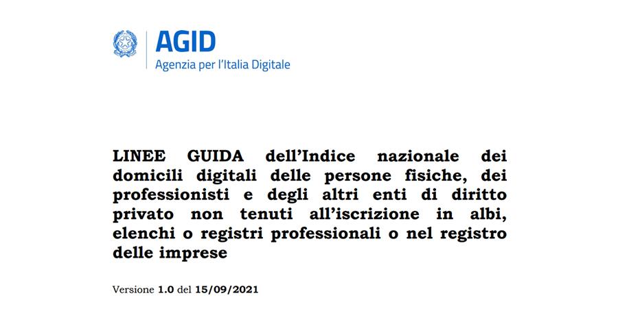 Indice Nazionale dei Domicili Digitali: pubblicate le linee guida AGID