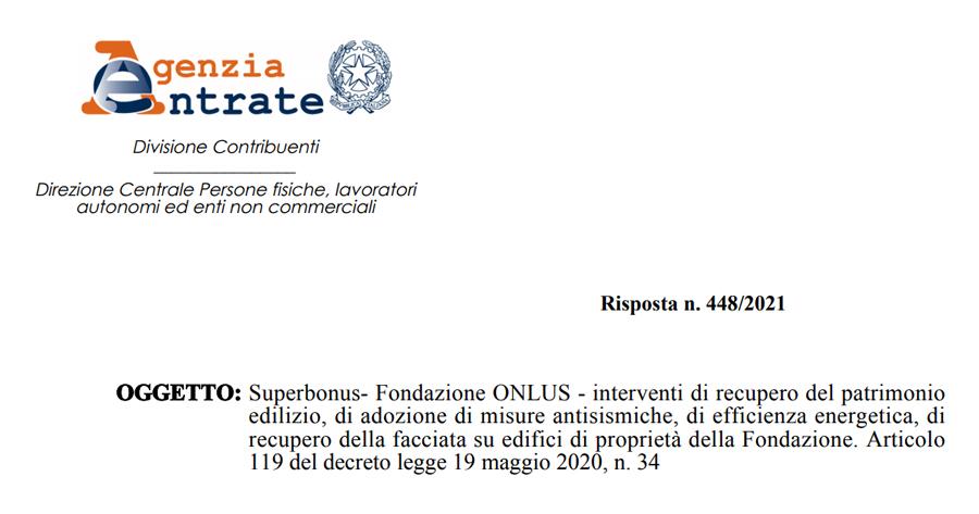 Superbonus 110%: nuovo intervento del Fisco