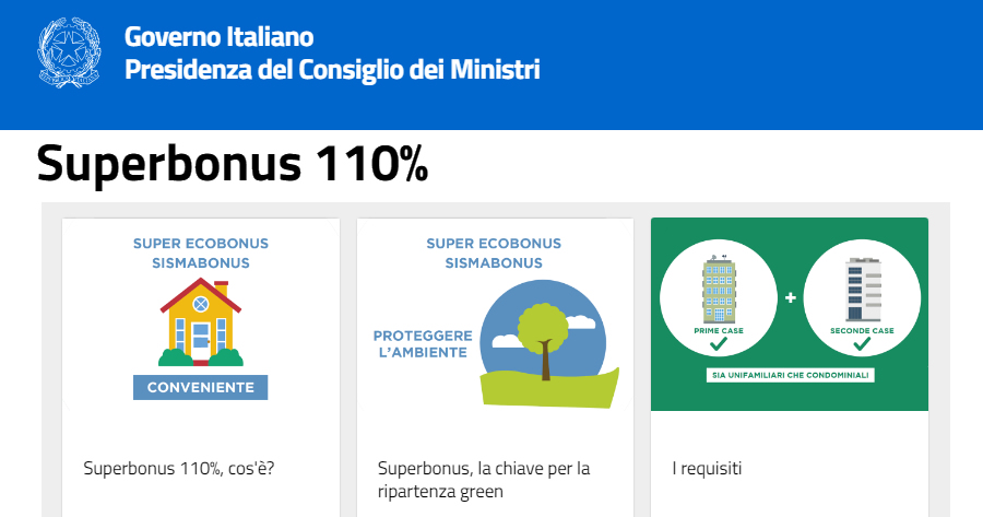 Superbonus 110%, online il sito del Governo