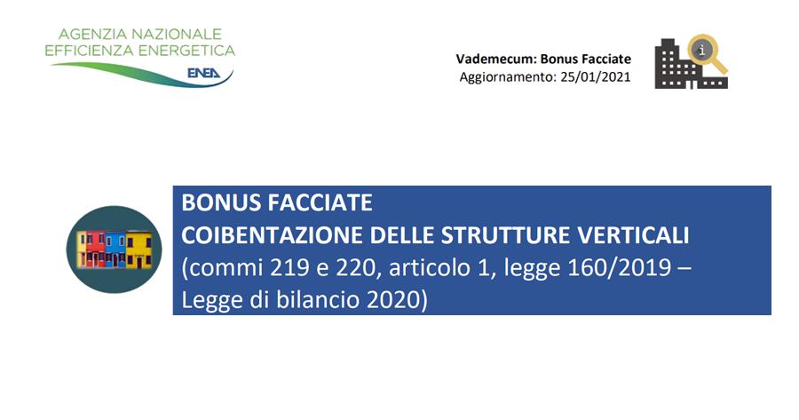 Bonus facciate 2021, nuovo vademecum Enea