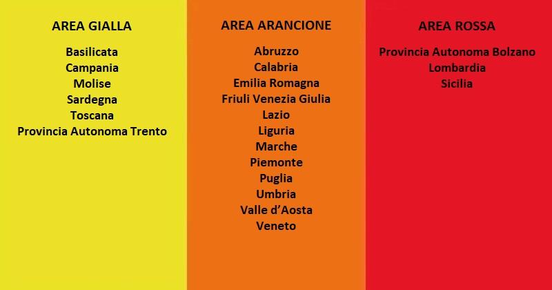 Coronavirus Covid-19: 12 regioni in area arancione, 3 in rossa e 6 in gialla