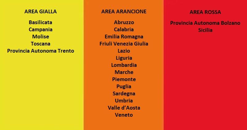 Covid-19: Scadenza effetti per le aree arancioni e rosse