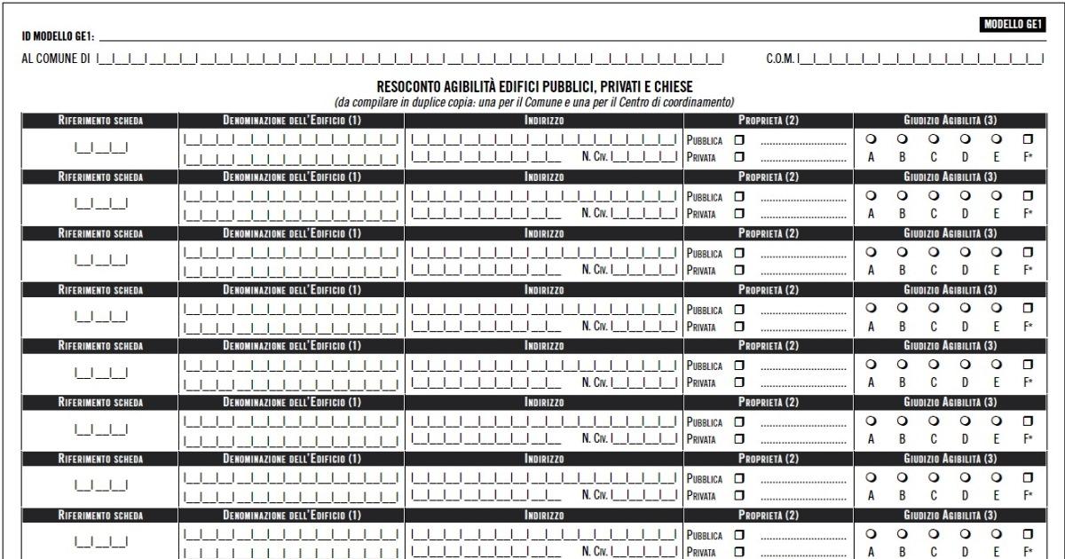 Terremoto Italia centrale: Indicazioni operative per censimento danni e verifiche di agibilità