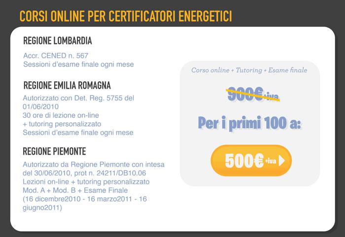 Corsi on-line per certificatori energetici