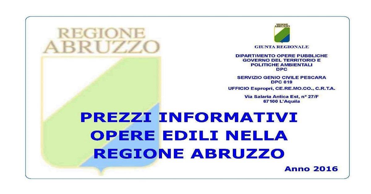 Abruzzo: Prezzi Informativi delle Opere Edili Aggiornamento 2016
