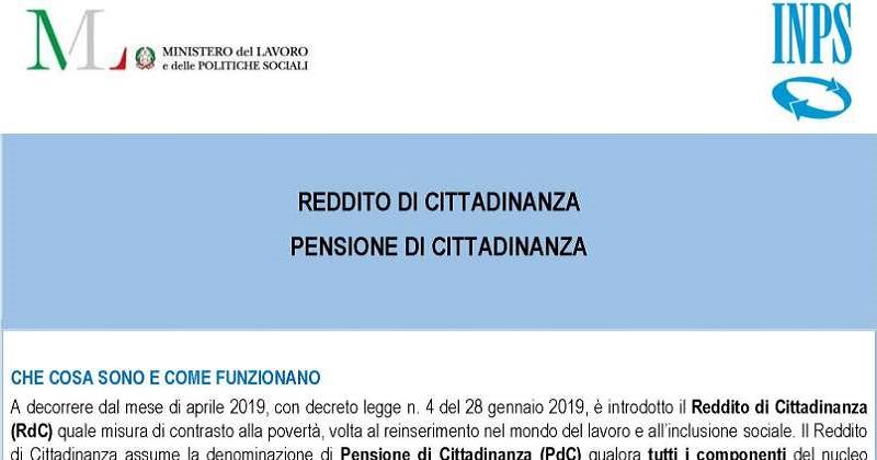 Reddito di cittadinanza: L'INPS pubblica il modulo per la domanda