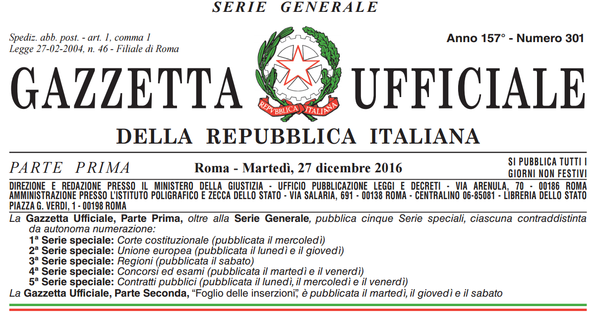 Terremoto centro Italia: in Gazzetta l'OPCM n. 422/2016