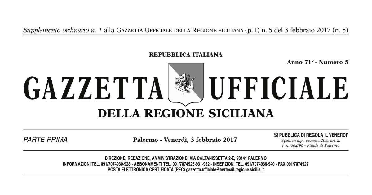 Regione Siciliana: Sulla Gazzetta le modifiche alla legge regionale sugli appalti