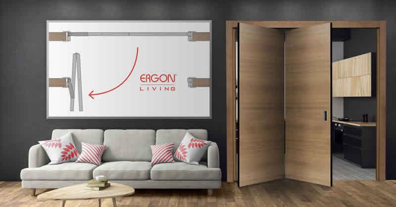 ERGON® Living su porte a doppia anta: il rototraslante dimezza l'ingombro della porta
