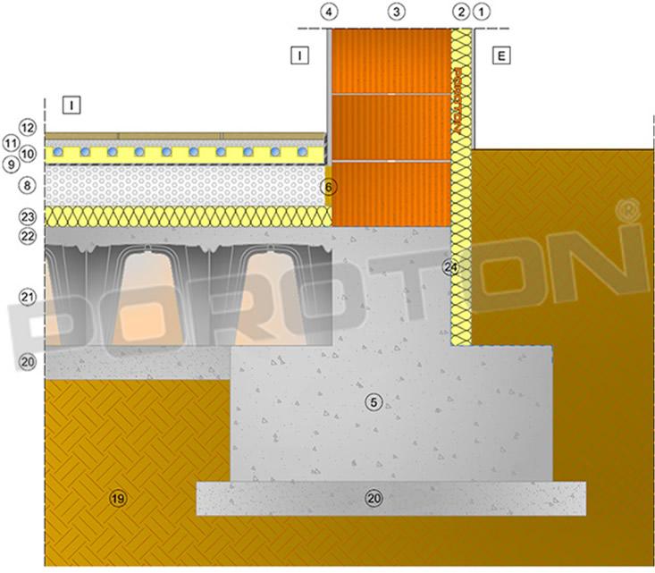 Dettaglio costruttivo ponte termico parete fondazione