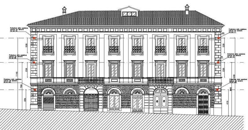 Monitoraggio strutturale di Palazzo Manetti nel centro storico de L'Aquila