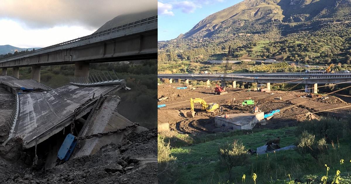 Viadotto Himera, VIDEO e IMMAGINI della demolizione della carreggiata in direzione Catania