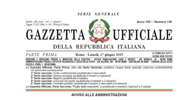 Sblocca Cantieri, in Gazzetta la Legge 14 giugno 2019, n. 55 di conversione del D.L. n. 32/2019
