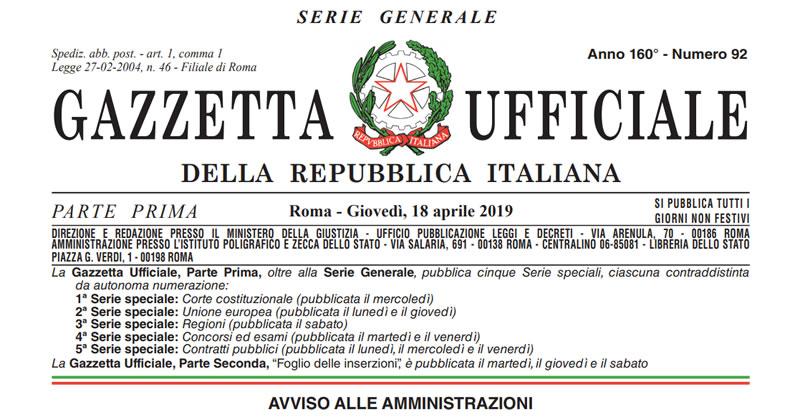 Sblocca Cantieri: in Gazzetta il Decreto Legge 18 aprile 2019, n. 32